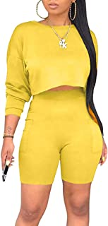 Women's Casual 2 Piece Outfits Jumpsuit Long Sleeve Crop Top Shorts Set with Pockets