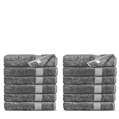 Chakir Turkish Linens Luxury Ultra Soft Bamboo 12-Piece Washcloths - Soft, Absorbent and Eco-Friendly (Gray)