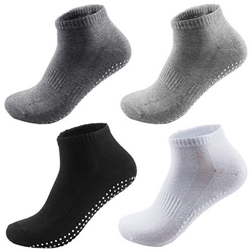 NATUCE 4 Paare Anti-Rutsch-Socken für Erwachsene Männer Herren Rutschfeste Sportarten Atmungsaktive Baumwolle für Yoga Pilates Kampfkunst Tanz Gymnastik 38-43 Multipack (Schwarz/Weiß/Dunkelgrau/Grau)