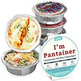 8' Sturdy Foil Pans with Snap-On Lids (5 Pack) | 2X Thicker Heavy Duty Reusable Foil Tins | Microwavable Multi-Use Pan, Pot, Container | Round Deep Disposable Aluminum Foil Pans for Baking, Cooking