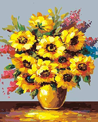 ASDFG Digitale Malerei Sonnenblume Handgemalte DIY Malvorlage Home Decoration Geschenk Malerei Leinwand Kit | Digitale Malerei | | 40 * 50Cm Ohne Rahmen, Szhc1857, 40X50Cm Ohne Rahmen