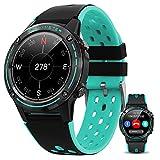 HQPCAHL Smartwatch Reloj Inteligente con GPS/Llamada Bluetooth/Pulsómetros/Monitor de Sueño, Multi Modos Deportivos, Fondo de Bricolaje, Pulsera Actividad Inteligente,Azul