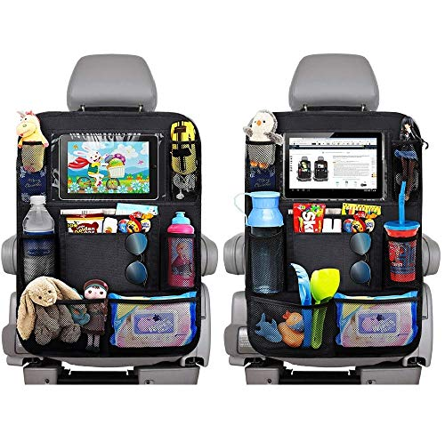 EFULL Car Back Seat Storage Organizer with Touch Screen Tablet Holder 9 Storage Pockets for Store Bottles、Books、Toys、Snacks、etc,Kick Mats Car Seat Back Protectors Great Travel Accessorie(2 Pack)