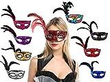 Pack 8 de Máscara de Carnaval de Pluma Colombina, Antifaz Veneciana con Brillantina y Plumas Suaves, Disfraz de Fiesta
