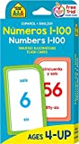 School Zone - Bilingual Numbers 1-100 Flash Cards - Ages 4+, Preschool to Kindergarten, ESL, Language Immersion, Addition, Subtraction, and More (Spanish and English Edition) (Spanish Edition)