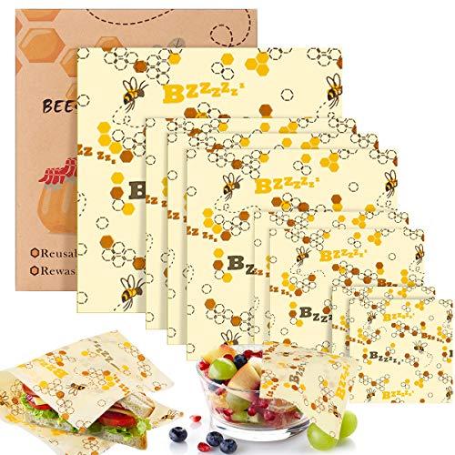 Braoses Bienenwachstücher (8er Set) Wiederverwendbare Beeswax Warp waschbare Wachspapier Bio Bienenwachs Lebensmittelverpackung Verschiedene Größe für Obst Gemüse und Brot