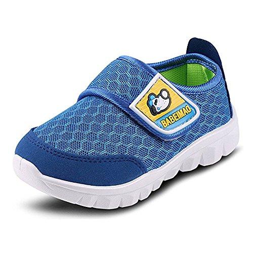 BAINASIQI Unisex Babyschuhe Kinder Sommer Atmungsaktives Mesh Sportschuhe Jungen Mädchen Freizeitschuhe Sneaker Lauflernschuhe Krabbelschuhe mit Weiche Sohle, Blau, 23 EU