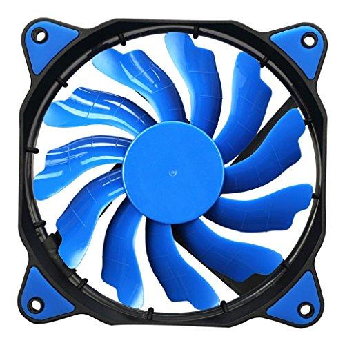 Tuscom Quiet 120mm DC 12V3+4pin LED Effects Clear Computer Case Fan for Radiator Mod (Blue)