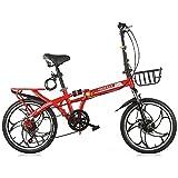 Bicicletta Pieghevole Uomini e donne Adulti Velocità Variabile Adulto Ultra Light Portable Portable 16/20 pollici Piccola Bicicletta Doppio Ammortizzatore Ruota singola ruota freno