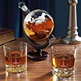 Naval Anchor Globe Decanter Set with Personalized Whiskey Glasses (Custom Product)