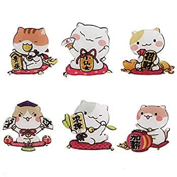 Set of 6 Fridge Magnets with Cute Cat Figurines
