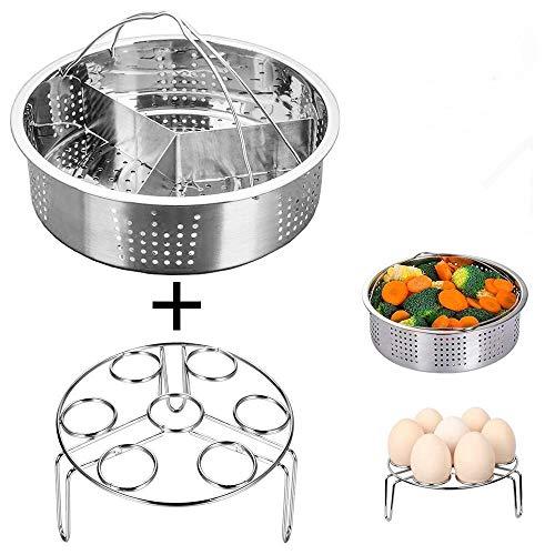 3 Pcs/Lot cuiseur vapeur en acier inoxydable Panier Ensemble Instant Pot Œuf cuiseur vapeur Rack Lot de pince de cuisine et salle à manger Instant Pot Accessoires