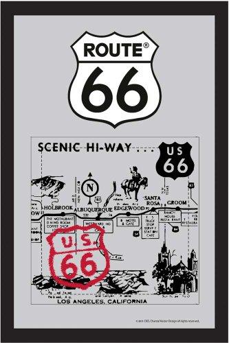empireposter - Route 66 - Old Map - grootte (cm), ca. 20x30 - Bedrukte spiegel, NIEUW - beschrijving: - Bedrukte wandspiegel met zwart kunststof frame in houtlook -