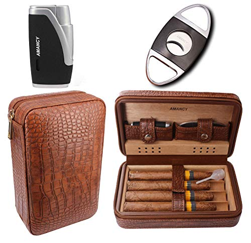 AMANCY Premium Brown Leather Cigar Travel Case Humidor W/Cutter Lighter Set