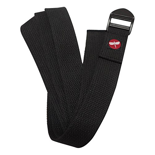 Dragonfly Yoga Cinch Buckle Cotton Yoga Strap, Unisex, Y141STRBLA06, Nero, 6 Piedi