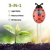 Bodentester, Boden Feuchtigkeit Meter, 3 in 1 Feuchtigkeit Sonnenlicht Boden PH-Tester für Pflanzenerde, Bauernhof, Garten, Rasen, Kein Batterien Erforderlich