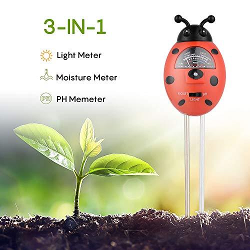 Herefun Bodentester, Boden Feuchtigkeit Meter, 3 in 1 Feuchtigkeit Sonnenlicht Boden PH-Tester für Pflanzenerde, Bauernhof, Garten, Rasen, Kein Batterien Erforderlich