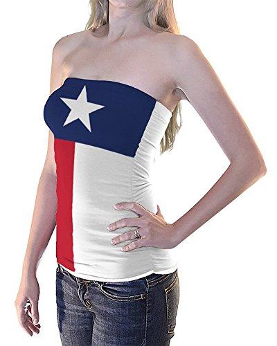 Texas Flag Tube Top Women's Girls Bikini Beach Cover Up (L) White