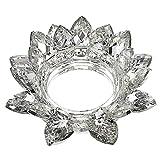 SUMTREE - Portavelas de cristal con flor de loto para vela votiva o pilar, diámetro de la vela 7,5 cm (grande, transparente)