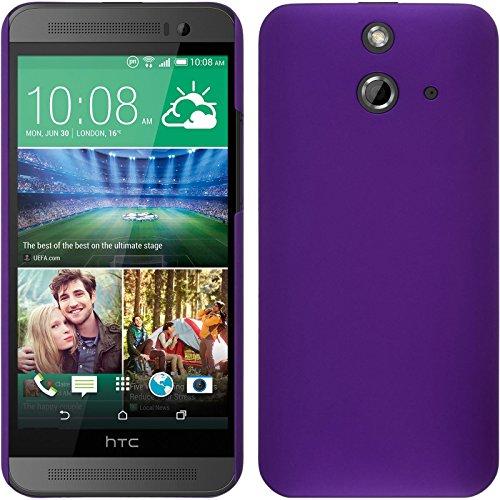 PhoneNatic Hülle kompatibel mit HTC One E8 - Hülle lila gummiert Hard-case + 2 Schutzfolien