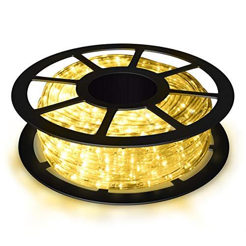 COSTWAY 10M LED Lichterschlauch Lichterkette für Außen und Innen mit 360 LEDs Weihnachtsbeleuchtung Lichtschlauch Weihnachten Deko (Warmweiß)