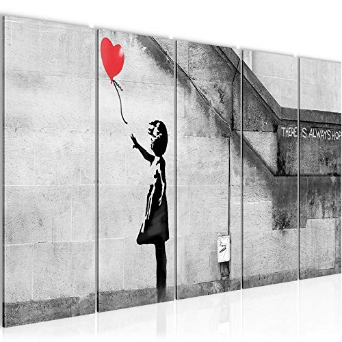 B&D XXL, 301656a, wandafbeelding, ballon meisje op canvas, XXL-formaat, wandafbeelding, woonkamer, woning, decoratie, kunstdrukken, rood, 5-delig, made in Germany, klaar om op te hangen