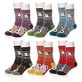 Eocom 6 Pairs Children's Winter Warm Wool Animal Crew Socks Kids Boys Girls Socks (6 Pairs Bear, 4-7 Years)