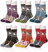 Eocom 6 Pairs Children's Winter Warm Wool Animal Crew Socks Kids Boys Girls Socks (6 Pairs Bear, 8-12 Years)