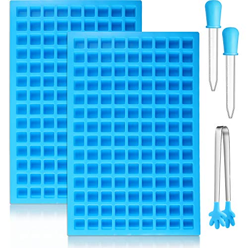 BBTO 2 Pieces 126-Cavity Square Silicone Mold Mini Candy Molds Ice Cube Tray with Silicone Dropper Clip for Making Homemade Chocolate Candy(Blue)