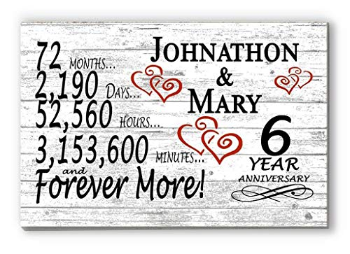 Personalized 6 Year Anniversary Sign