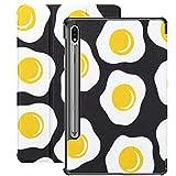 Funda Galaxy Tablet S7 Plus de 12,4 Pulgadas 2020 con Soporte para bolígrafo S, Desayuno matutino Patrón sin Costuras Huevos fritos Funda Protectora con Soporte Delgado para Samsung