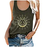 Womens Summer Tank Tops Crew Neck Sleeveless Vintage Sun Moon Casual Loose Fit Tee Shirts Blouses