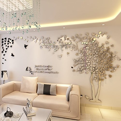 Colorfulworld Giant Tree Wandaufkleber Wall Stickers 3D Baum Wandaufkleber Art Home Decals for Room Decoration DIY Wall Sticker (Silber, Links, XL)