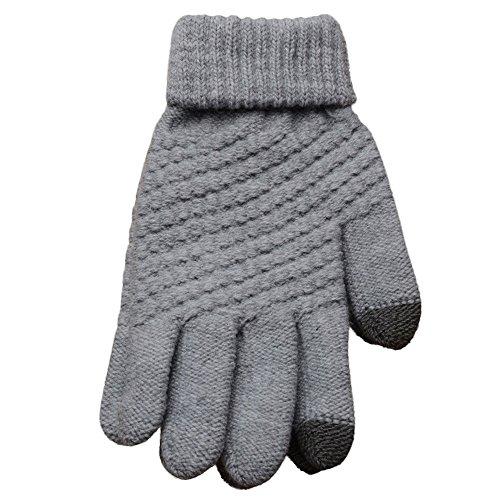 Jody - Guantes para mujer y hombre, de invierno, cálidos, táctiles, de punto, térmicos, con forro de lana, deportivos, antideslizantes, para invierno, color gris