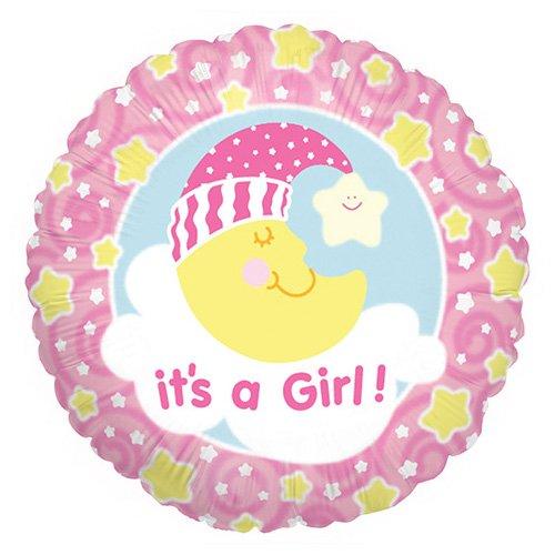 Betallic Balloon Rundballon mit Mond und Aufschrift s a Girl, Farbe Rosa und Weiß, 86045