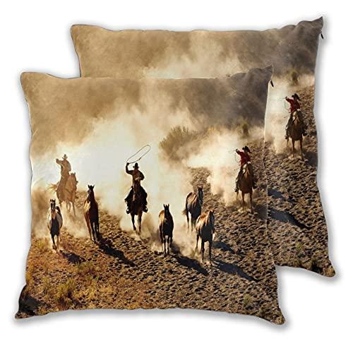 KGSPK Juego de 2 Fundas de Cojín,Vaquero del Salvaje Oeste a Caballo en el Desierto,Decorativa Cuadrado Suave Funda de Almohada Sofá Sillas Cama Decoración para Hogar 40x40cm