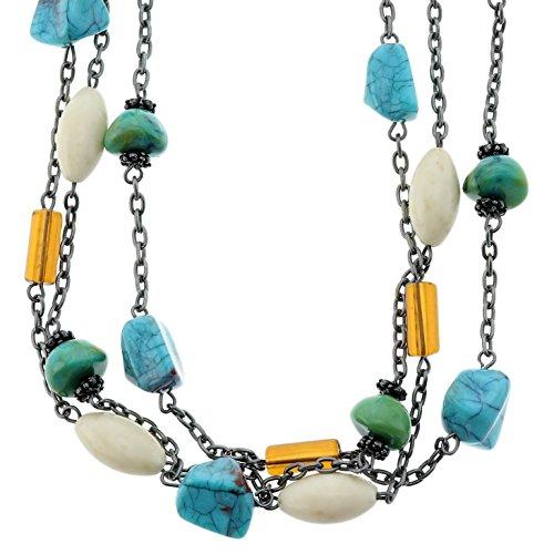 Dubbele parelketting voor vrouwen met edelstenen – ketting voor stenen – mooie halsketting.