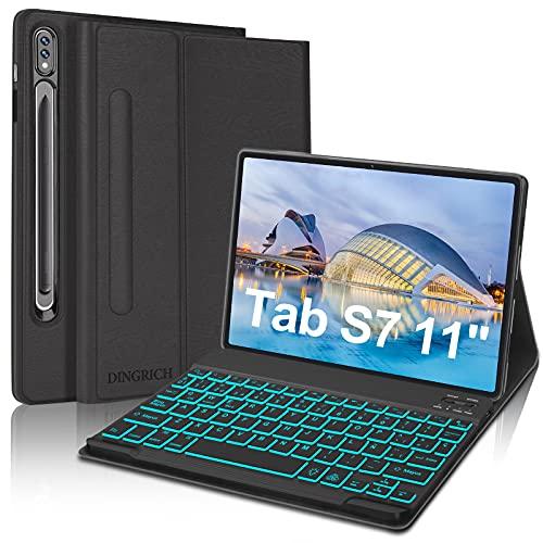 Funda Teclado Español Ñ para Samsung Tab S7, DINGRICH Bluetooth Teclado Portalápiz Extraíble Inalámbrico 7 Color Retroiluminación para Tablet Samsung Galaxy Tab S7 SM-T870/T875/T878 11