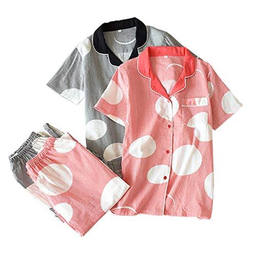 NATASHA& FreshSummerShort sleeve100% Gauze cottonWomenCasualPajamas Homewear DX CK-1 L