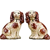 OR Staffordshire Reproduction King Charles Spaniel Orange Dog Pair Small Figurines