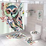 MrLYouth Cute Colorful Owl Shower Curtain Sets with Non-Slip Rugs,Toilet Lid Cover,Bath Mat and 12 Hooks,4 Pcs Digital Printing Animal Theme Art Waterproof Polyester Fabric Bathroom Decorations