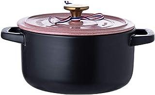 Ffshop Stock Pot Inicio Uso de la cerámica de Alta Temperatura Pot Olla Cacerola de cerámica con Tapa Rosa Cacerola con Tapa de Vidrio (tamaño : 2800ml)