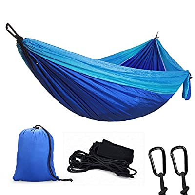 """Double Camping Hammock, Youandme Lightweight Parachute Portable Hammocks for Hiking, Travel, Backpacking, Beach, Yard. Gear Includes Nylon Straps & Steel Carabiners , Size 118"""" x 78"""""""