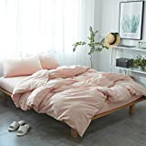 mixinni 3 Pieces Washed Cotton Duvet Cover Full Size Solid Pink Bedding Duvet Cover Set with Zipper Ties Girls Women (1 Duvet Cover + 2 Pillow Shams),Easy Care,Soft,Durable (Pink,Queen)