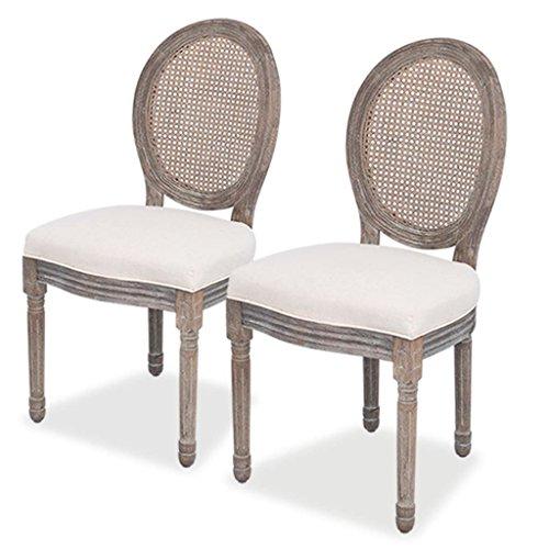 vidaXL 2X Chaise de Salle à Manger Lin Rotin Chaise à Manger Chaise de Cuisine