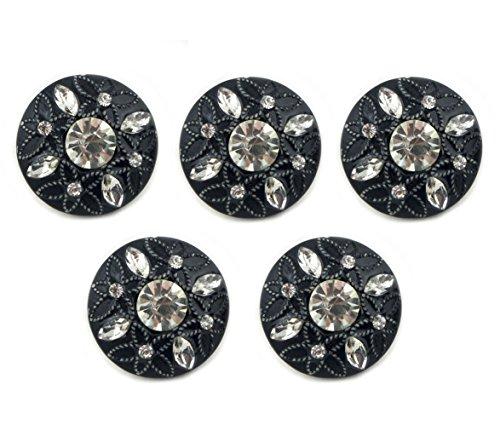 HAND® No.124-1 en Relief Motif de Fleurs et de Crystal Noir Boutons de diamètre 22 mm - Pack de 5