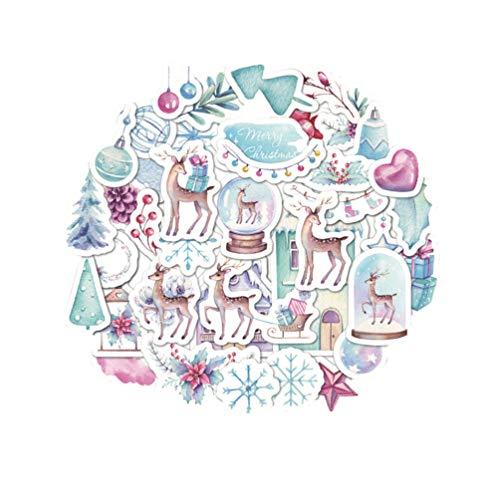 Stobok - 40 adesivi per agenda natalizia, motivo: cervo, carta Washi, adesivi per conto, fai da te, scrapbooking, quaderni, biglietti