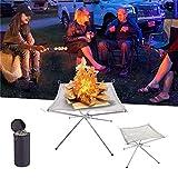 Chimenea portátil de malla de acero inoxidable plegable para exteriores con bolsa de transporte para camping, patio trasero, jardín
