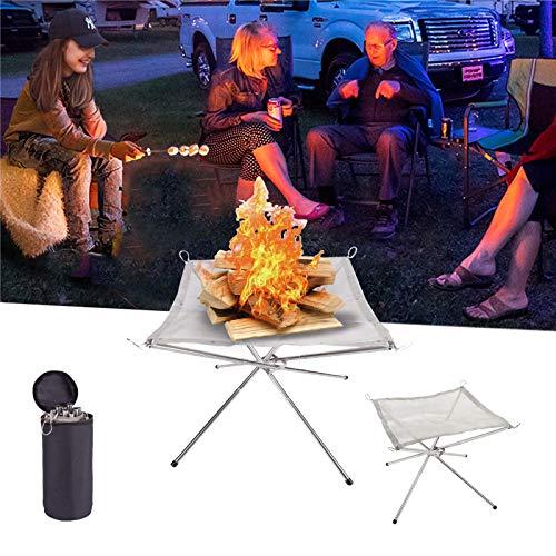 Tragbare Feuerstelle für den Außenbereich, zusammenklappbarer Edelstahl-Mesh-Kamin feuerschale für Terrasse, Außenbereich, mit Tragetasche für Camping, Hinterhof, Garten