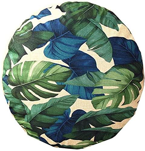 Kissenbezug, modern, rund, tropische Pflanzen, Baumwolle, Leinen, 45,7 x 45,7 cm, für Sofa, Sitz, Auto, Heimdekoration (01)